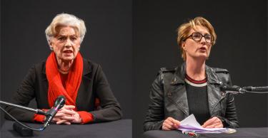 Nicole Heesters und Saskia Fischer bei ihrer Lesung im Theater Wedel